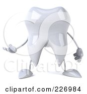 Royalty Free RF Clipart Illustration Of A 3d Dental Tooth Character Facing Front And Gesturing