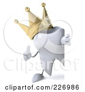 Royalty Free RF Clipart Illustration Of A 3d Dental Tooth Character Wearing A Crown And Holding A Thumbs Up By A Blank Sign 1