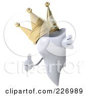 Royalty Free RF Clipart Illustration Of A 3d Dental Tooth Character Wearing A Crown And Holding A Thumbs Up By A Blank Sign 2