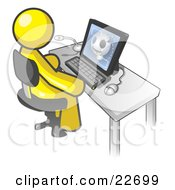 Clipart Illustration Of A Yellow Doctor Man Sitting At A Computer And Viewing An Xray Of A Head by Leo Blanchette
