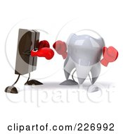 Royalty Free RF Clipart Illustration Of A 3d Dental Tooth Character Boxing With Chocolate