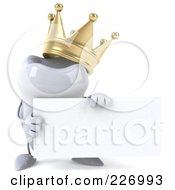 Royalty Free RF Clipart Illustration Of A 3d Dental Tooth Character Wearing A Crown And Holding A Card 1
