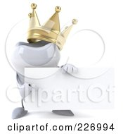Royalty Free RF Clipart Illustration Of A 3d Dental Tooth Character Wearing A Crown And Holding A Card 2 by Julos