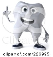 Royalty Free RF Clipart Illustration Of A 3d Dental Tooth Character Smiling And Holding Up A Finger