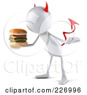 Royalty Free RF Clipart Illustration Of A 3d Devil Bob Character With A Cheeseburger 2