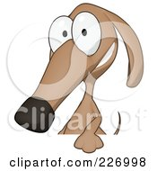 Cartoon Brown Pookie Wiener Dog Smiling Over A Blank Sign