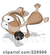 Royalty Free RF Clipart Illustration Of A Cartoon Brown Pookie Wiener Dog Doing A Hand Stand by Julos