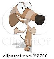 Cartoon Brown Pookie Wiener Dog Looking Around A Blank Sign