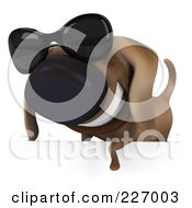 Royalty Free RF Clipart Illustration Of A 3d Chubby Dachshund Dog Wearing Shades Over A Blank Sign 4