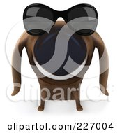 3d Chubby Dachshund Dog Wearing Shades Over A Blank Sign - 3