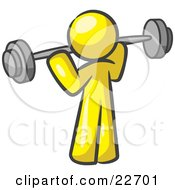 Clipart Illustration Of A Yellow Man Lifting A Barbell While Strength Training