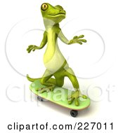 Royalty Free RF Clipart Illustration Of A 3d Pico Gecko Character On A Skateboard