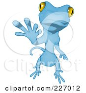Blue Cartoon Gecko Waving - 2