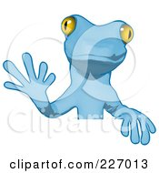 Royalty Free RF Clipart Illustration Of A Blue Cartoon Gecko Waving And Standing Behind A Blank Sign