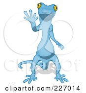 Royalty Free RF Clipart Illustration Of A Blue Cartoon Gecko Waving 1
