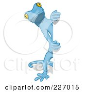 Royalty Free RF Clipart Illustration Of A Blue Cartoon Gecko Looking Around A Blank Sign 1
