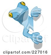 Royalty Free RF Clipart Illustration Of A Blue Cartoon Gecko Looking Around A Blank Sign 2