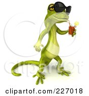 Royalty Free RF Clipart Illustration Of A 3d Pico Gecko Character Wearing Shades And Drinking A Beverage