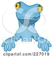 Royalty Free RF Clipart Illustration Of A Blue Cartoon Gecko Standing Behind A Blank Sign by Julos
