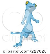 Royalty Free RF Clipart Illustration Of A Blue Cartoon Gecko Facing Front by Julos
