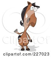 Royalty Free RF Clipart Illustration Of A Cartoon Charlie Horse Facing Front And Waving by Julos