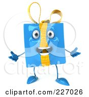 Royalty Free RF Clipart Illustration Of A 3d Blue Gift Character Acting Surprised by Julos