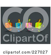 Royalty Free RF Clipart Illustration Of A Group Of Gift Characters Marching Over Gray by Julos