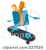 Royalty Free RF Clipart Illustration Of A 3d Blue Gift Character Skateboarding by Julos