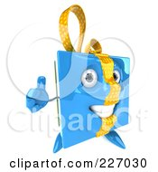 Royalty Free RF Clipart Illustration Of A 3d Blue Gift Character With A Thumb Up by Julos