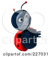 Royalty Free RF Clipart Illustration Of A 3d Ladybug Looking At A Blank Sign by Julos