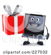 3d Black Laptop Character Carrying A Red Present - 3