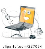Silver Laptop Carrying A Wrench - 2