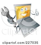 Silver Laptop Carrying A Wrench - 1