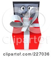 3d Black Laptop Character Carrying A Red Present - 1