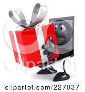 3d Black Laptop Character Carrying A Red Present - 2