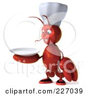 Royalty Free RF Clipart Illustration Of A 3d Lobster Chef Facing Left And Holding A Plate