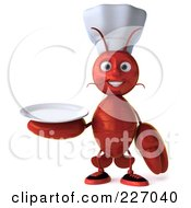 Royalty Free RF Clipart Illustration Of A 3d Lobster Chef Holding A Plate by Julos