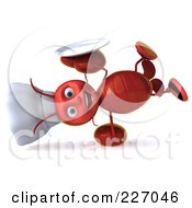 Royalty Free RF Clipart Illustration Of A 3d Lobster Chef Holding A Platter And Doing A Hand Stand
