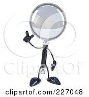 Royalty Free RF Clipart Illustration Of A 3d Magnifying Glass Character With An Idea
