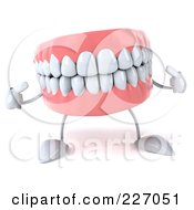 Royalty Free RF Clipart Illustration Of A 3d Dentures Character Pointing At His Pearly Whites