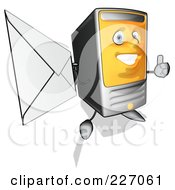 Royalty Free RF Clipart Illustration Of A Cartoon Computer Tower Holding A Letter