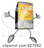 Royalty Free RF Clipart Illustration Of A Cartoon Computer Tower Jumping