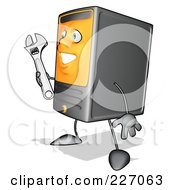 Royalty Free RF Clipart Illustration Of A Cartoon Computer Tower Character Holding A Wrench 3