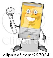 Royalty Free RF Clipart Illustration Of A Cartoon Computer Tower Character Holding A Wrench 2