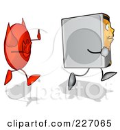 Royalty Free RF Clipart Illustration Of A Cartoon Computer Tower Running From A Devil 2