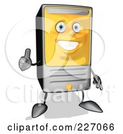 Royalty Free RF Clipart Illustration Of A Cartoon Computer Tower Holding A Thumbs Up