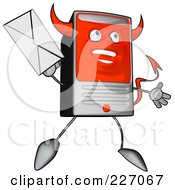 Royalty Free RF Clipart Illustration Of A Devil Cartoon Computer Tower Holding An Envelope 4