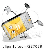 Royalty Free RF Clipart Illustration Of A Cartoon Computer Tower Doing A Hand Stand