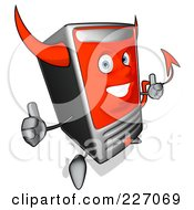 Royalty Free RF Clipart Illustration Of A Devil Cartoon Computer Tower Holding Two Thumbs Up