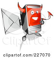 Royalty Free RF Clipart Illustration Of A Devil Cartoon Computer Tower Holding An Envelope 1